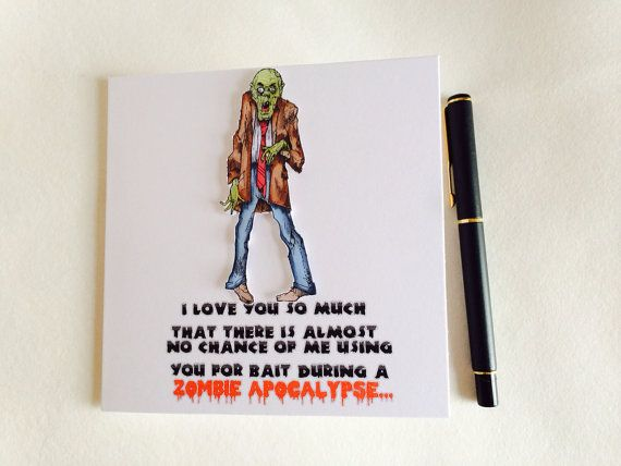 Valentines day Card, Zombie Card, Funny Zombie Card, Love Card on Etsy, £2.50