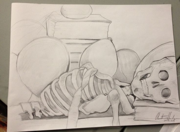 Still life sketch: balloons, streamers, books skeleton and vase.