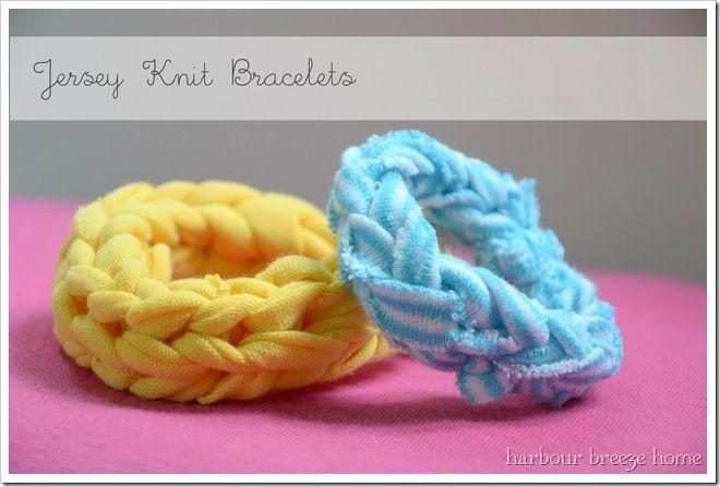 DIY Jersey Knit Bracelets - tutorial video.