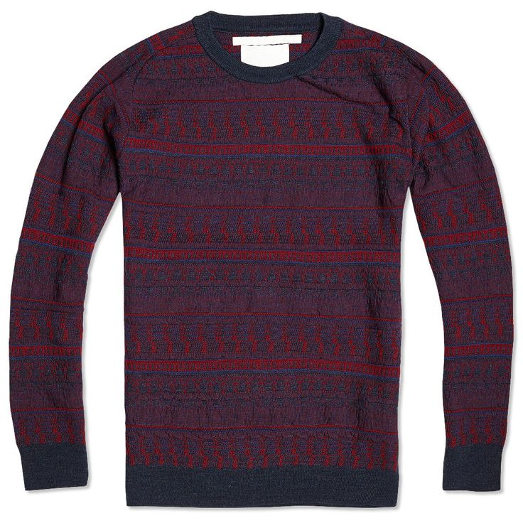 White Mountaineering Microchips Pattern Round Neck Knit Sweater (Navy)
