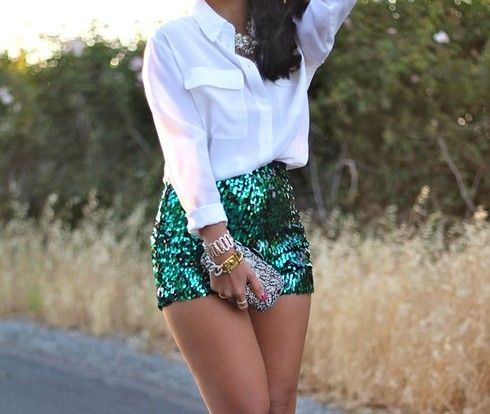 Sparkle and Shine in Hunter Green Sequin High Waist Shorts! Find the hottest sequin and glitter shorts and more. Add simple jewelry for amazing combination