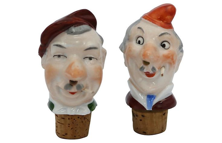 French Caricature Liquor Pourers - Set of 2 - Rose Victoria