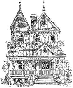 Victorian House Printable Colouring PagesAdult