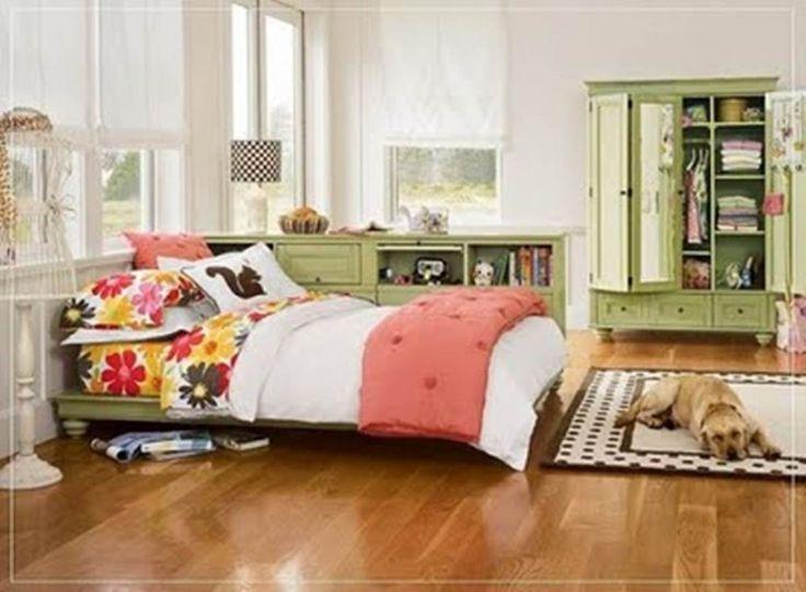 Inspiring Green Teenage Bedroom Furniture Set With White Wall Paint Color Background Plus Black Polka Dot Rug On Laminate Floor Design