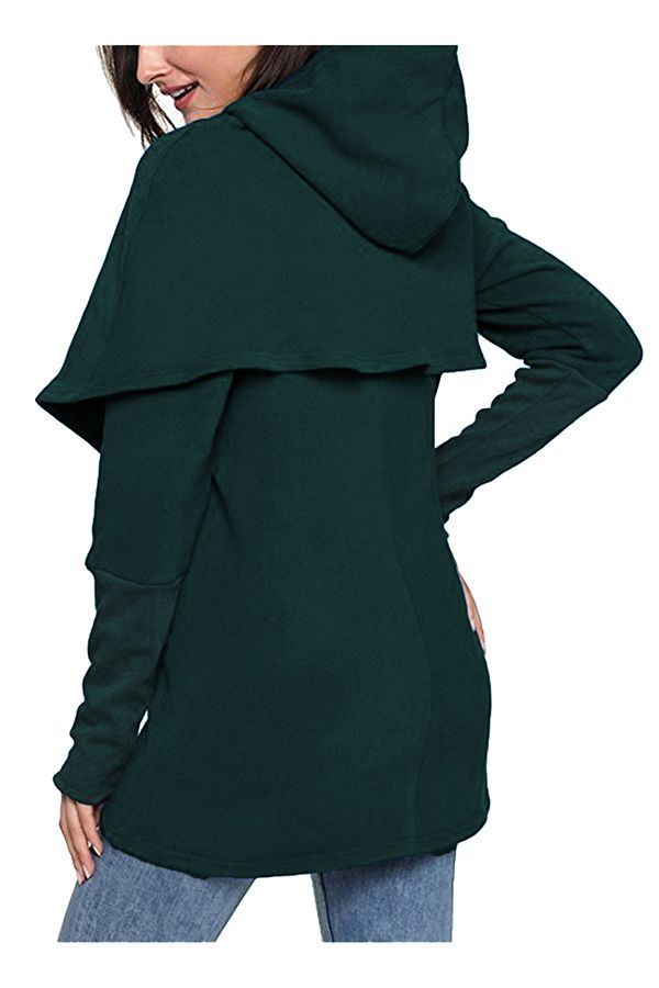 eff0b9b84 Fashion Long Sleeve Slant Pocket Wrap Loose Plain Hoodie Dark Green ...