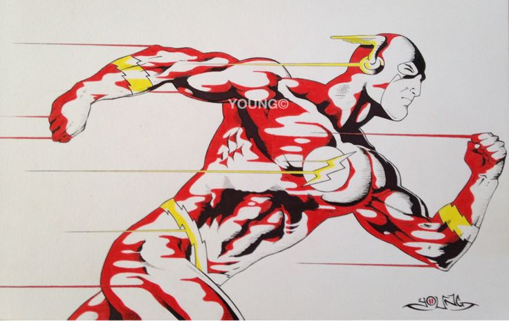 The Flash A3  Pen and Coloured Pencil