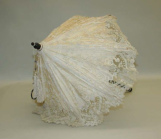 Parasol Made Of Silk, Cotton, Metal, Semi-Precious Stones, Pearls And Ivory - French  c.1845  -  The Metropolitan Museum Of Art