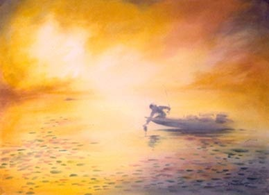 """Fisherman in Fog"" by Doug Lew. 20"" x 28"" Watercolor Original. A brilliant sun bursting through the fog at dawn's early light highlights the beginning of a perfect day with the first catch of the day. Info: http://www.spiritofsports.com/product/FSH-A-01481/Fisherman_in_Fog?referrer=gallery"