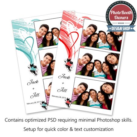 A photo booth template based on a fun and light heart design. Simple Hearts features two unique hearts clusters. It is a perfect design for weddings, proms and Valentine's Day dances.