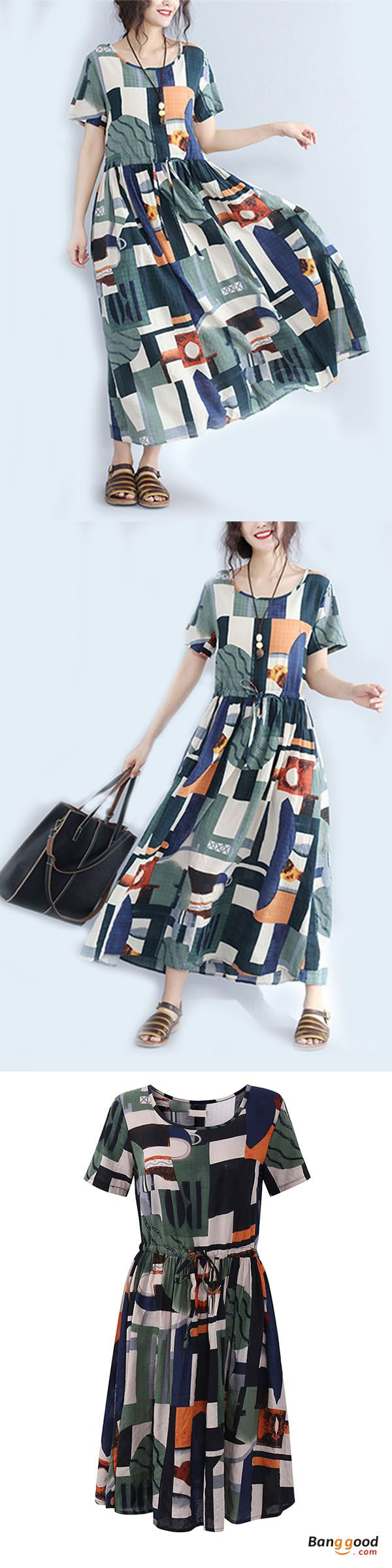 US$25.99 + Free shipping. Casual Women Color Block Drawstring Waist Short Sleeve Maxi Dresses. Material: Cotton. Size:S,M,L,XL. Buy now!