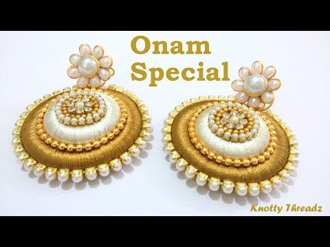 In this video, we have shown How to make Earrings using Silk Thread at Home . We have chosen colors based on Onam Festival. We have used silk thread, stone c...