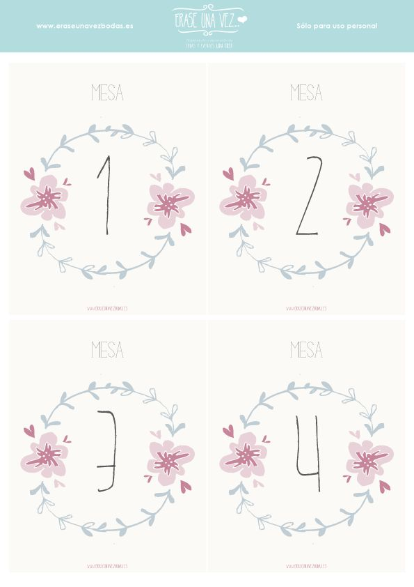 Imprimible: números de mesa #printable #wedding