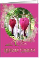 20th Wedding Anniversary Party Invitation Bleeding Hearts Floral Card by Greeting Card Universe. $3.00. 5 x 7 inch premium quality folded paper greeting card. Greeting Card Universe offers the largest selection of Flowers & Garden cards on the web. Make your loved ones feel special with a custom paper card. Turn to Greeting Card Universe for all your Flowers & Garden card needs. This paper card includes the following themes: 20th Wedding anniversary invitation, wedding anniversa...