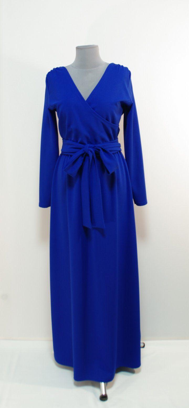 Ультра-синее платье с декольте на запах, длина макси   Платье-терапия от Юлии