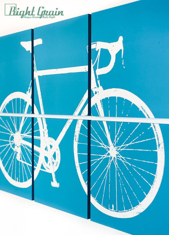 Large Custom Road Bike Wall Art  Bicycle Painting  by RightGrain, $145.00