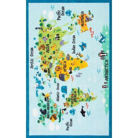 nuLOOM Machine Made Animal World Map Area Rug, Blue