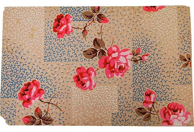 Vintage Handpainted Wallpaper, Paris: Vintage Wallpaper Fabric, Vintage Phones, Vintage Wallpapers, Repeat Ideas, Rose Wallpaper, Vintage Wallpapered, Vintage Roses, Wallpaper Ideas