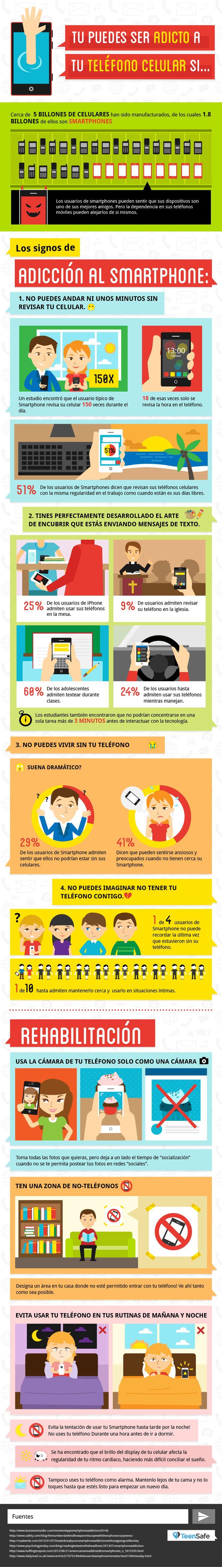 Nomofobia: adicción al teléfono móvil o celular #infografia