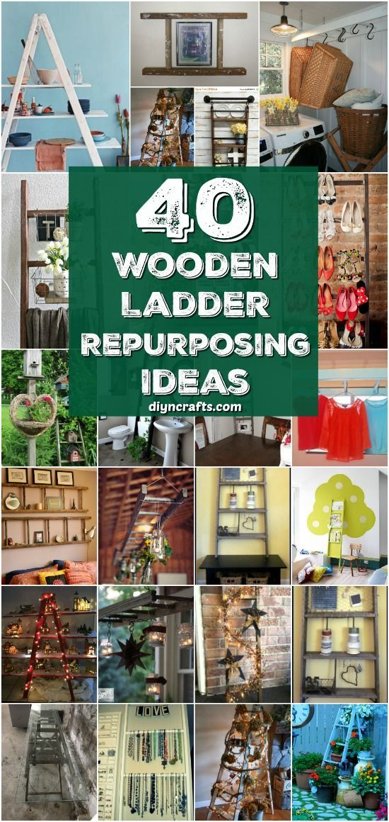 40 Wooden Ladder Repurposing Ideas That Add Farmhouse Charm To Your Home {With Tutorial Links} via @vanessacrafting