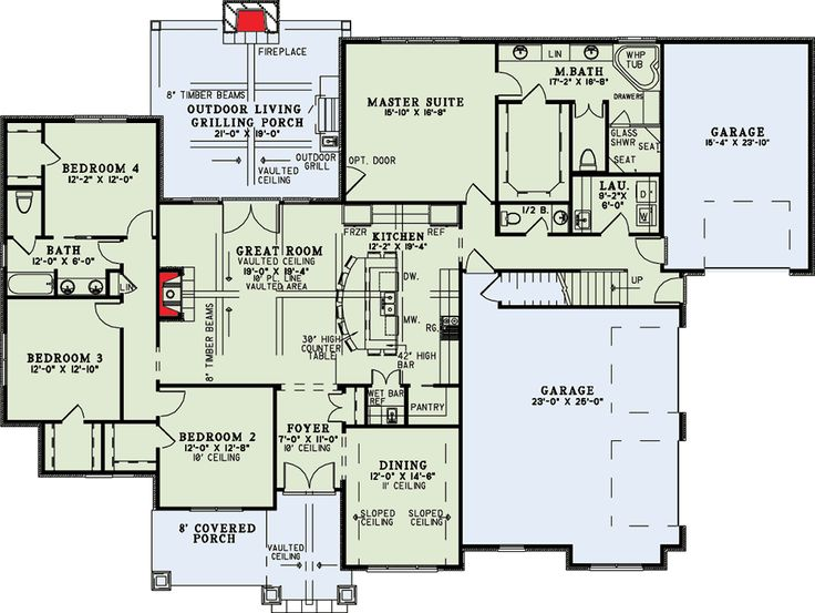 Craftsman Home with Vaulted Great Room - 60631ND floor plan - Main Level
