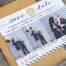 Gold, Black and White Wedding Save the Date, New Year's Eve Wedding  Stationery | Invitations | Custom Design www.beeskneescustomdesign.com