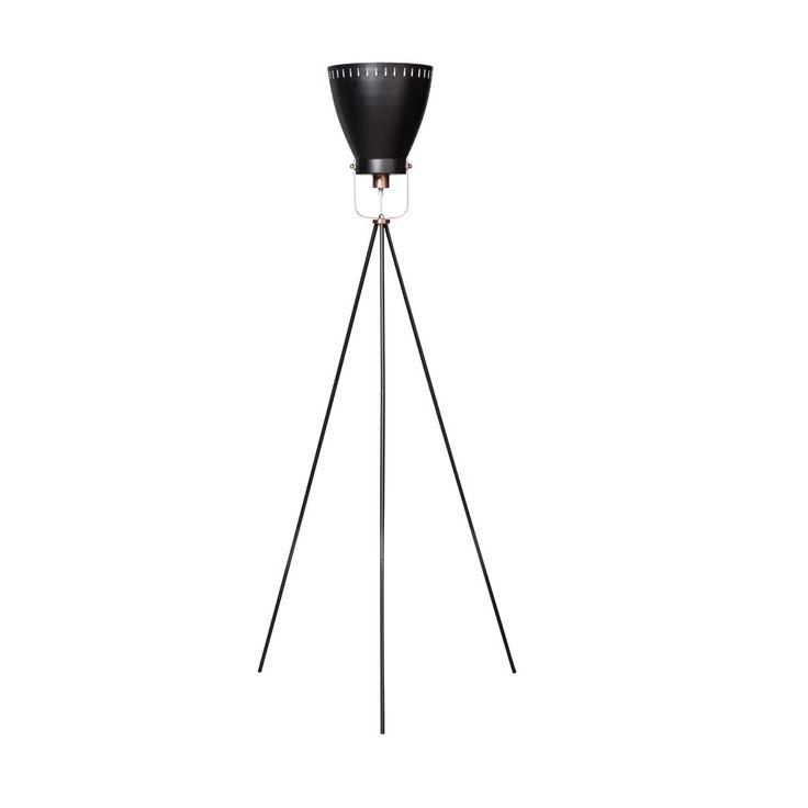 Expotrading acate staande lamp 3 poot koper zwart
