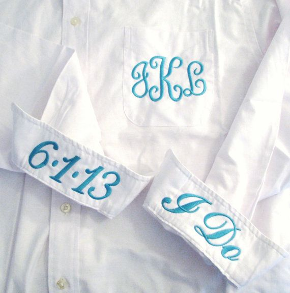 Bride Shirt - Personalized Bridal Party Shirt - Monogrammed Button Down Wedding Shirt via Etsy