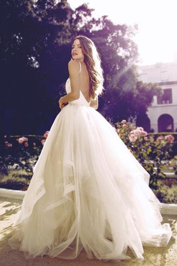 Glamorous Straps Ball Gowns Ivory Backless Tulle Wedding Dresses WD124