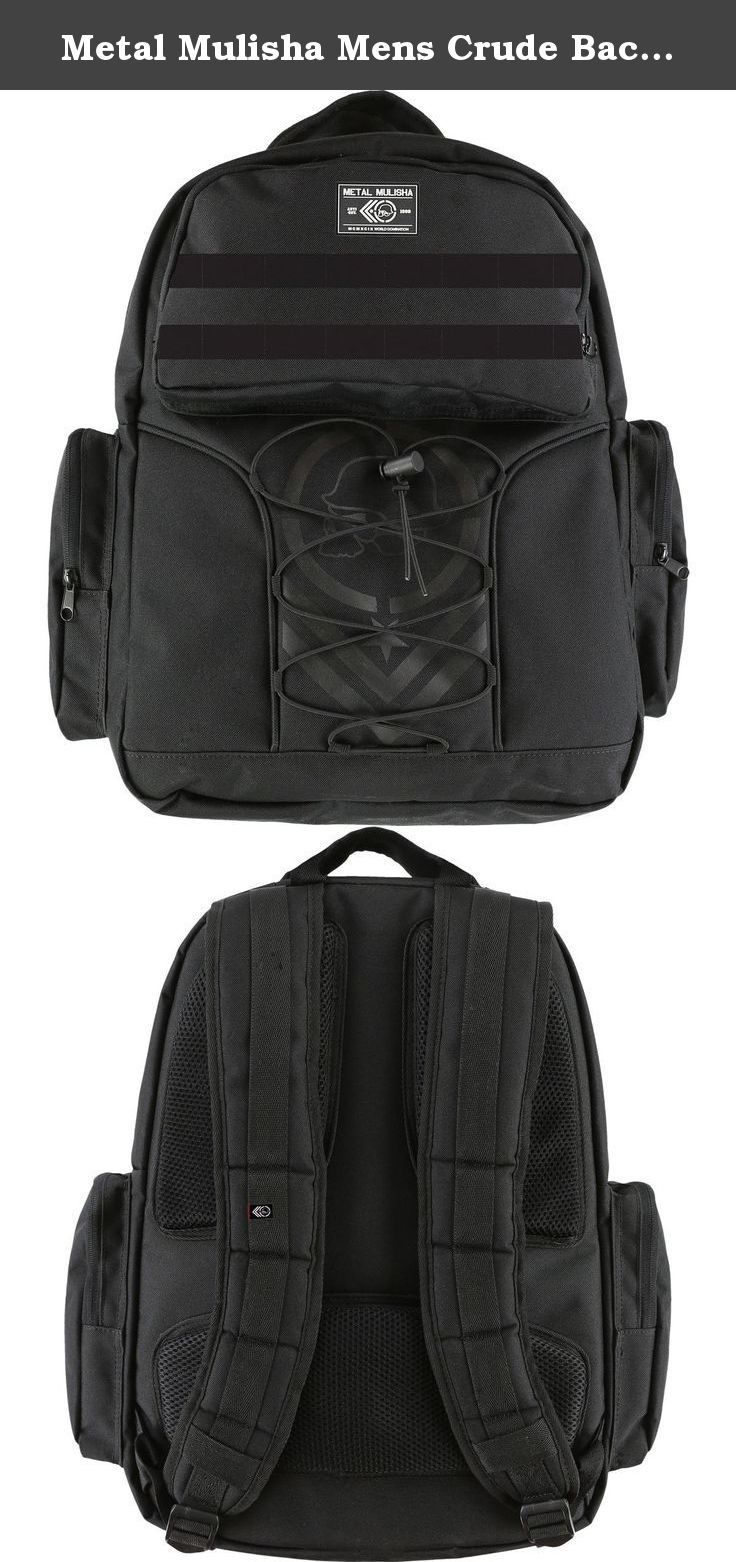 "Metal Mulisha Mens Crude Backpack One Size Black. Metal Mulisha speaks the language of nonconformity with distinctive apparel that includes graphic tees, jerseys, boardshorts, fleece, tanks, denim and accessories; and encourages guys and girls to ""join the domination"" and express their rebellious spirit and daring attitude. Main compartment, organizer pocket with interior pockets, side zipper pockets, webbing details throughout, s-curved air-mesh straps, two-tone shock cords, detailed…"