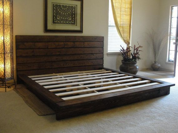 King rustic platform bed maybe diy furniture Rustic bed frames
