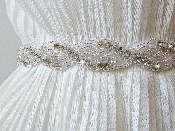 Crystal BRIDAL SASH wedding RHINESTONE sash by AdeleInWhite