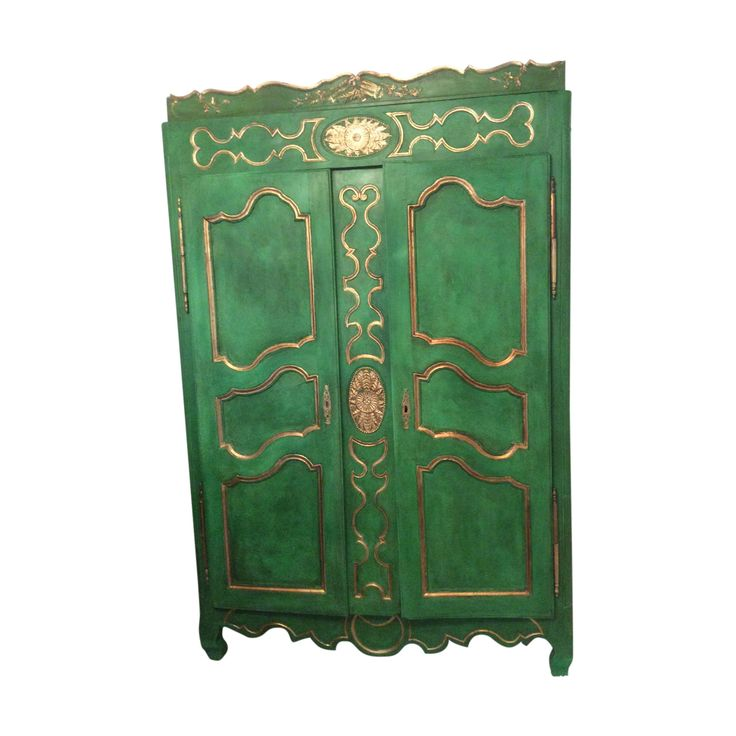 Buy it now: AUTHENTIC FRENCH ANTIQUE ARMOIRE FACADE GUILDED AND PAINTED IN RICH ANTIBES GREEN  Special Armoire feature on the blog: https://layerhome.com/find-your-knight-in-shining-armoire/