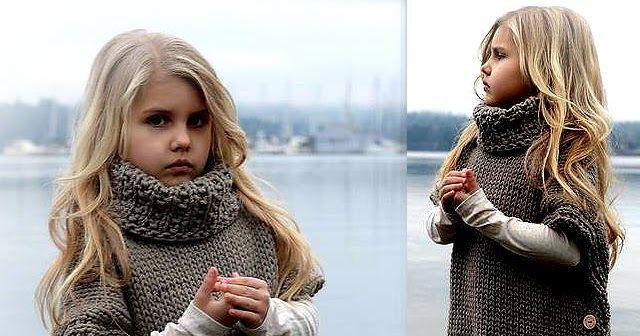 Cómo tejer poncho de nena con dos agujas o palitos, con cuello alto y botones a los costados