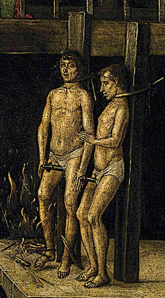 Garrotte Torture Device - Men tied to a Garrotte torture device during the Spanish Inquisition