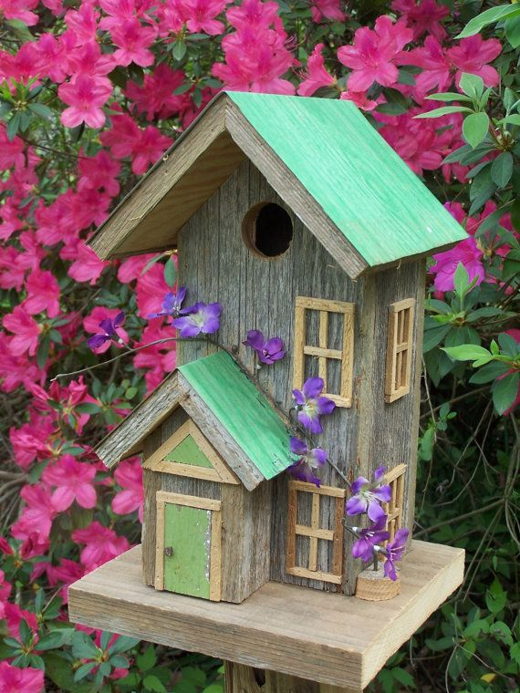 Rustic Cedar Condo Style Birdhouse by SwampwoodCreations on Etsy, $75.00