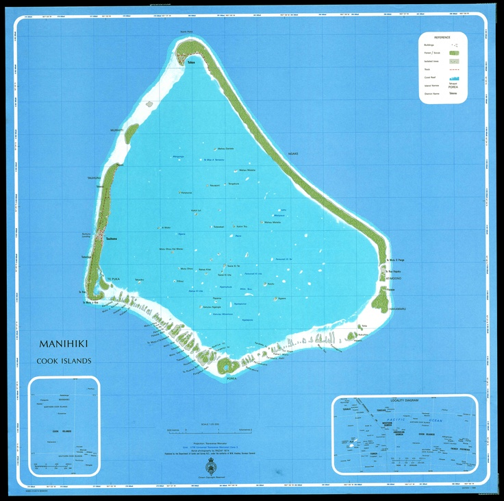 Manihiki Cook Islands 1/25 000 Department of Lands and Survey New Zealand 1986 edition 1