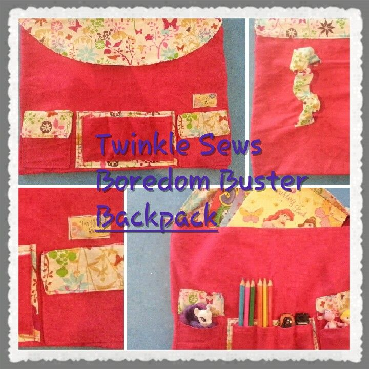 Boredom buster backpack :) available at Twinkle Sews on facebook!