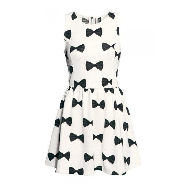 Black Bow Tie Print Sleeveless A-line White Mini Dress ($22) ❤ liked on Polyvore featuring dresses, sukienki, a line dress, white a line dress, white dress, white day dress and short black dresses