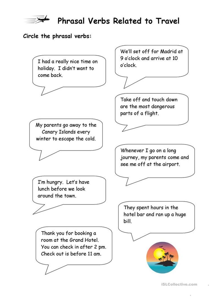 Phrasal Verbs related to Travel - English ESL Worksheets ...