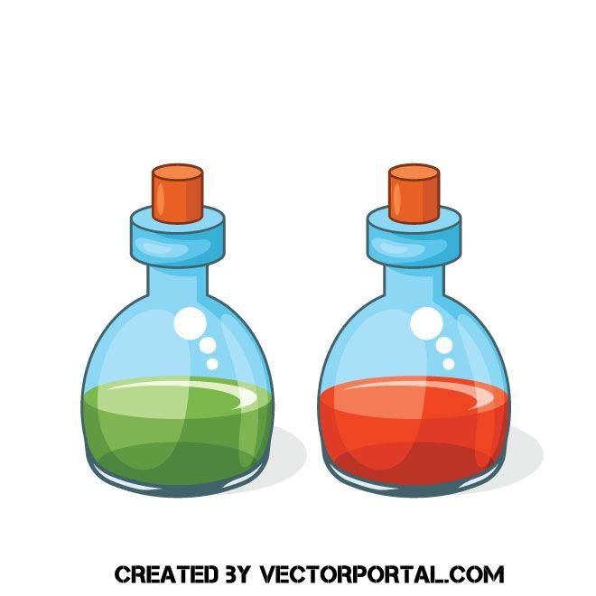 Bottles Of Potion Vector Clip Art Clip Art Free Clip Art Potions