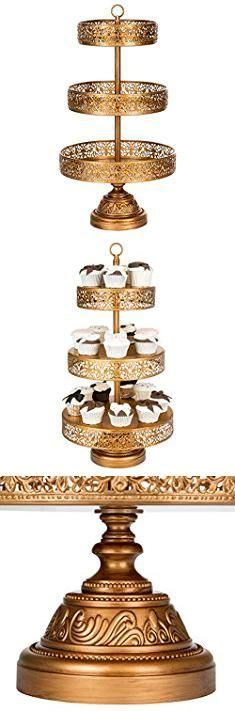 Gold Dessert Stands. Victoria Collection Antique Gold 3 Tier Cupcake Stand, Round Metal Dessert Wedding Party Display Tower with Reversible Plates.  #gold #dessert #stands #golddessert #dessertstands