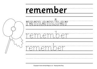 Remembrance Day worksheets for all ages