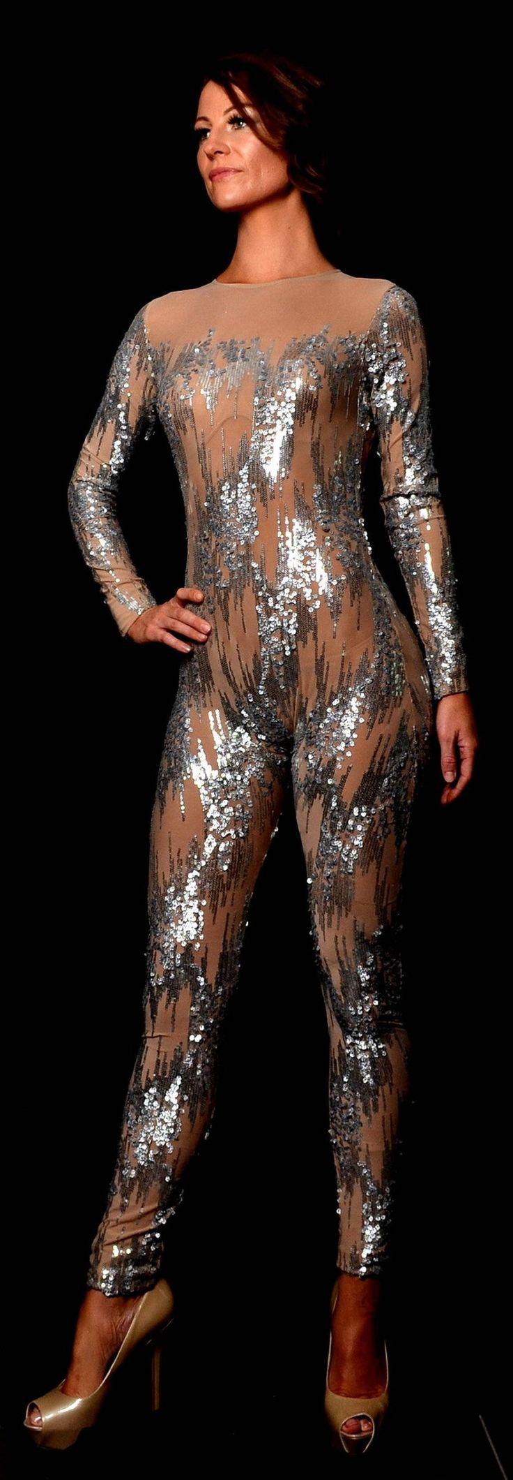 Sheer Sequin Bodysuit Cat suit Jumpsuit Sequin bodysuit