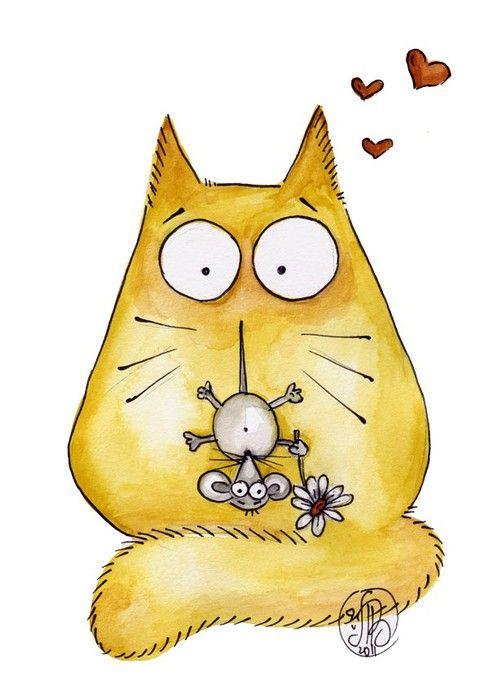 Забавные коты рисунки картинки :: Картинки с котами, рисунки кошек, графика с котятами