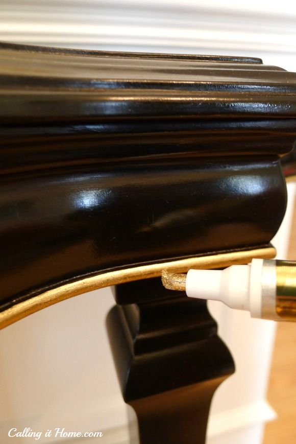 Use a gold leaf pen to highlight carved areas or a ridge on a piece of furniture {Calling It Home} Paint It Monday