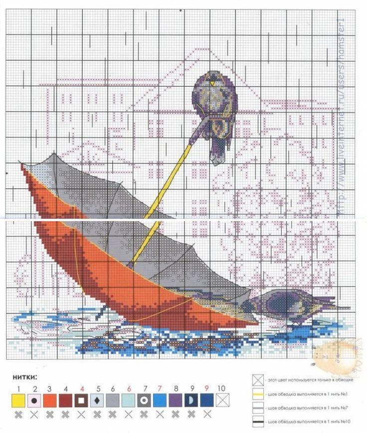 point de croix parapluie et pigeons - cross stitch umbrella and pigeons