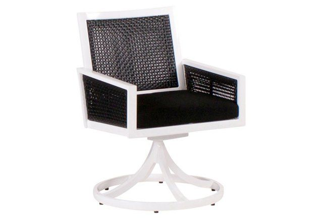 Parkview Woven Swivel Dining Chair, Blk