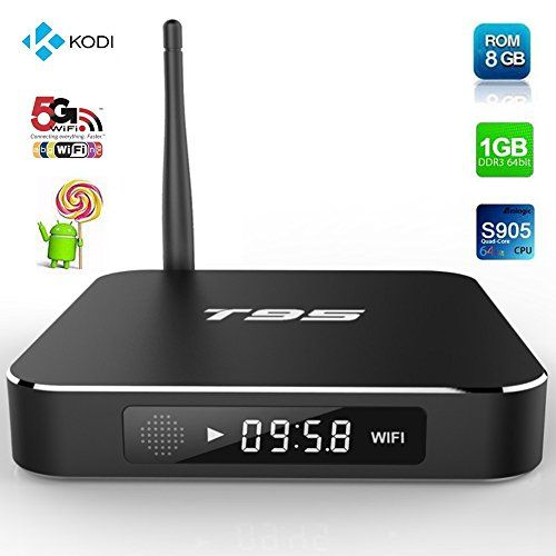 Epteam T95 Android TV Box Quad Core/1GB/8B/4K/S905 Dual Band Wifi- Internet Media Streaming Device & Game Player with Kodi 16.0, Fully Unlocked Internet Streaming Media Player