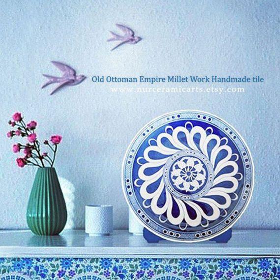 Decorative Tile, Old Ottoman Empire, Millet Work, Handmade iznik tile, ottoman art beautiful home decor vintage design by nurceramicarts
