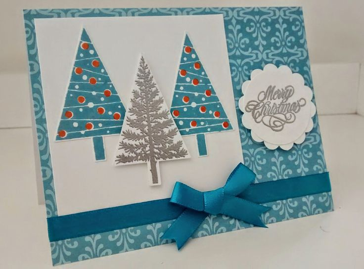 Christmas card using Stampin' Up Festival of trees stamp set.